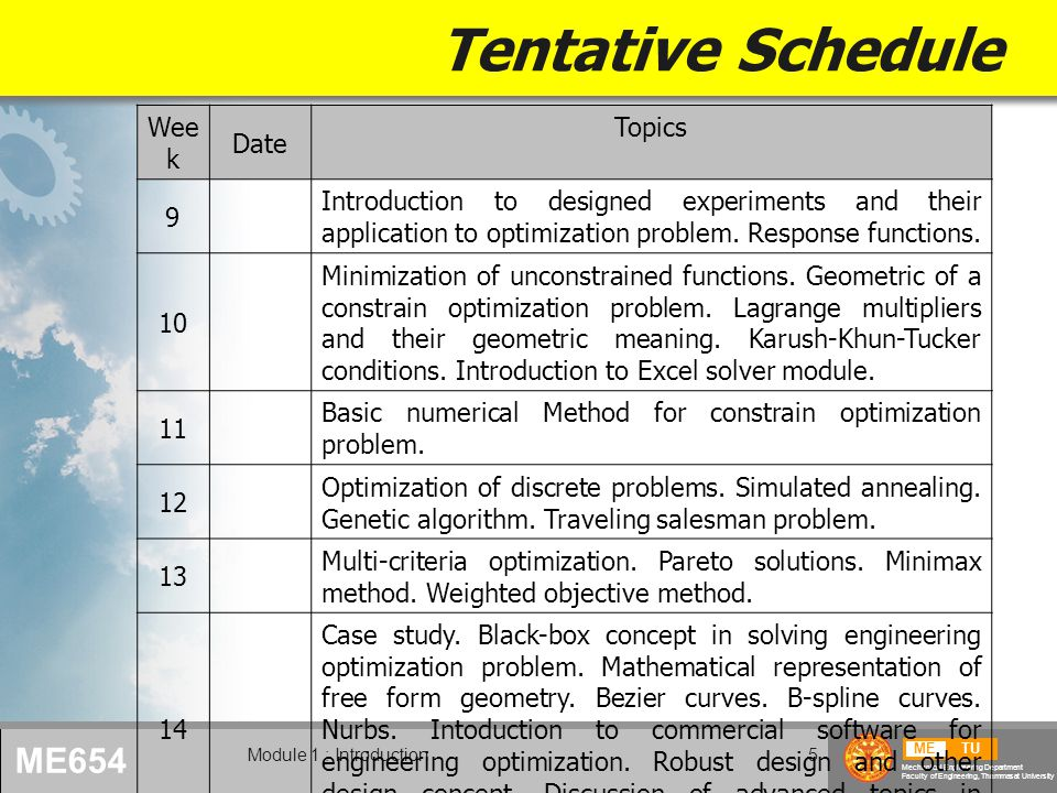 Tentative Schedule Week Date Topics 9