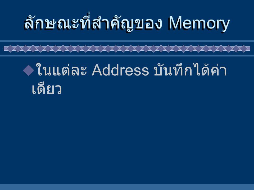 ลักษณะที่สำคัญของ Memory