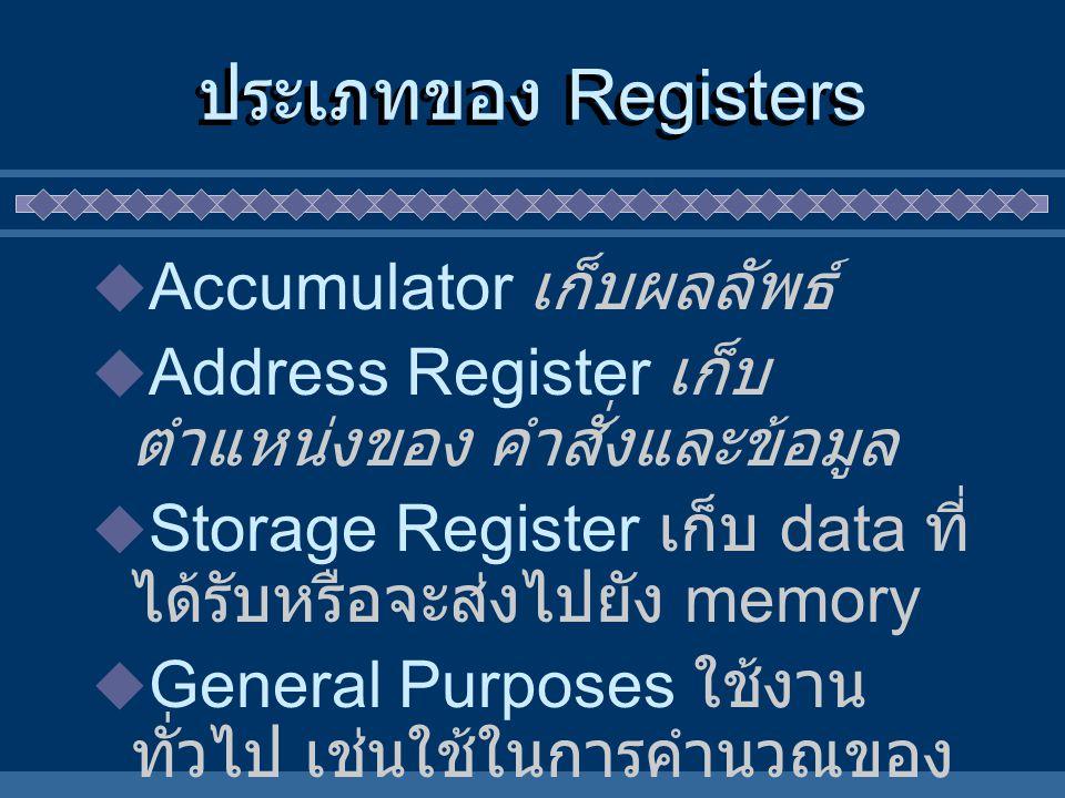 ประเภทของ Registers Accumulator เก็บผลลัพธ์
