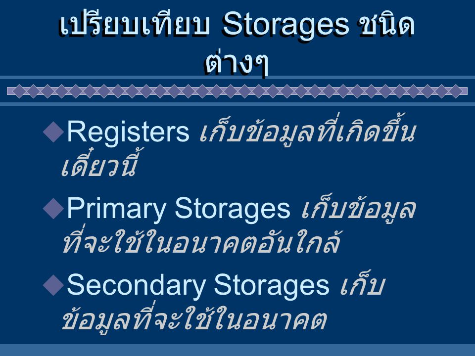เปรียบเทียบ Storages ชนิดต่างๆ