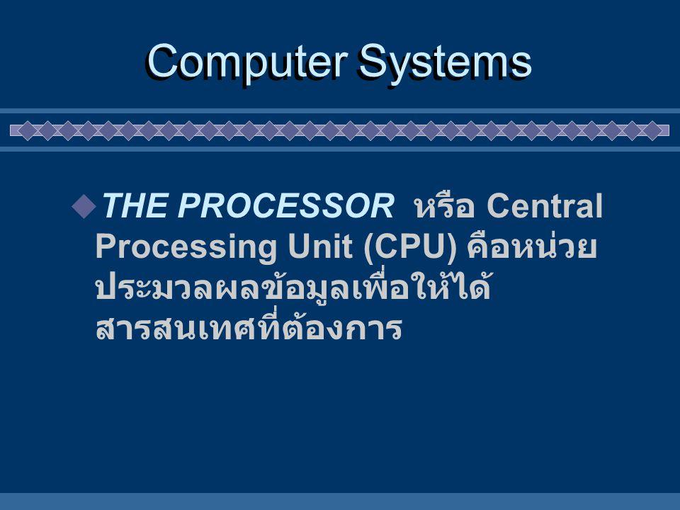 Computer Systems THE PROCESSOR หรือ Central Processing Unit (CPU) คือหน่วย ประมวลผลข้อมูลเพื่อให้ได้สารสนเทศที่ต้องการ.