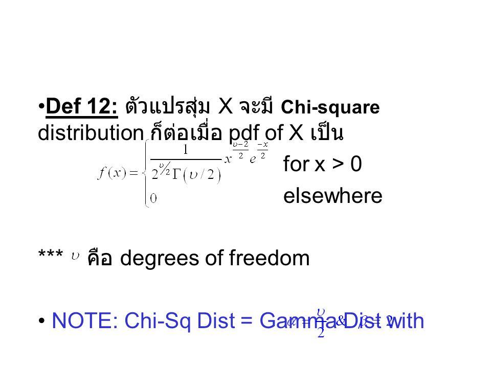 Def 12: ตัวแปรสุ่ม X จะมี Chi-square distribution ก็ต่อเมื่อ pdf of X เป็น