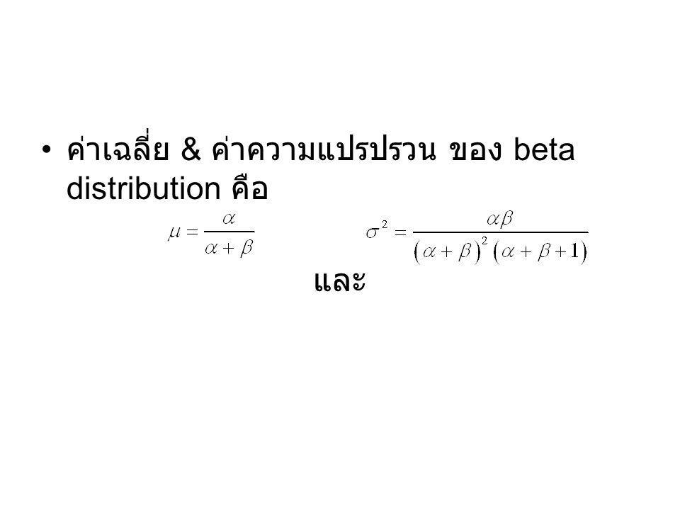 ค่าเฉลี่ย & ค่าความแปรปรวน ของ beta distribution คือ
