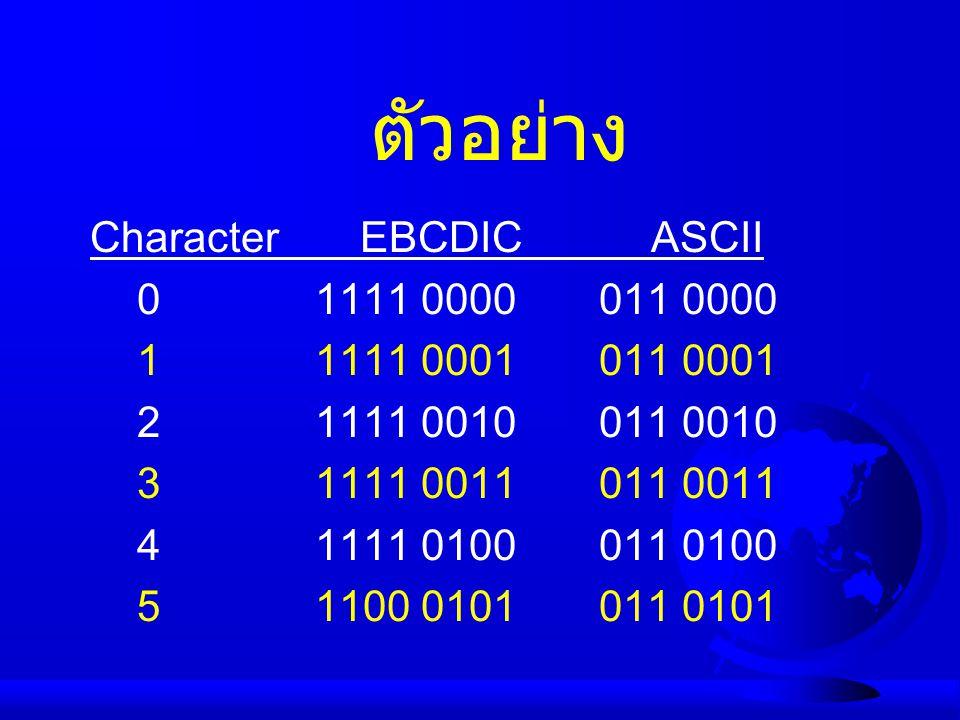 ตัวอย่าง Character EBCDIC ASCII 0 1111 0000 011 0000