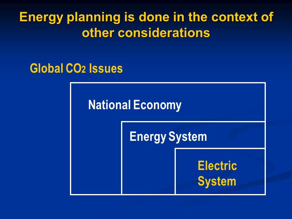 Energy planning is done in the context of other considerations