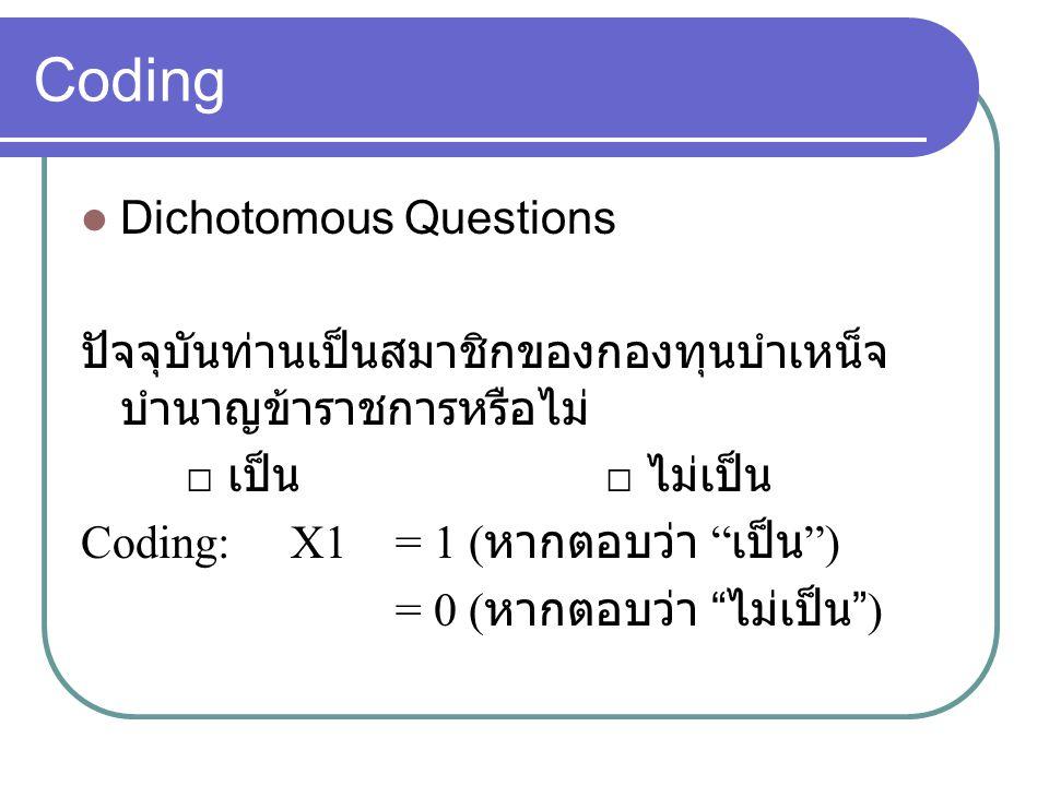 Coding Dichotomous Questions
