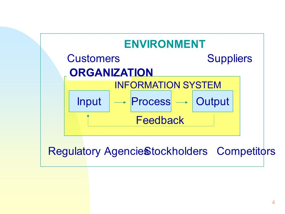 ENVIRONMENT Customers Suppliers ORGANIZATION Input Process Output