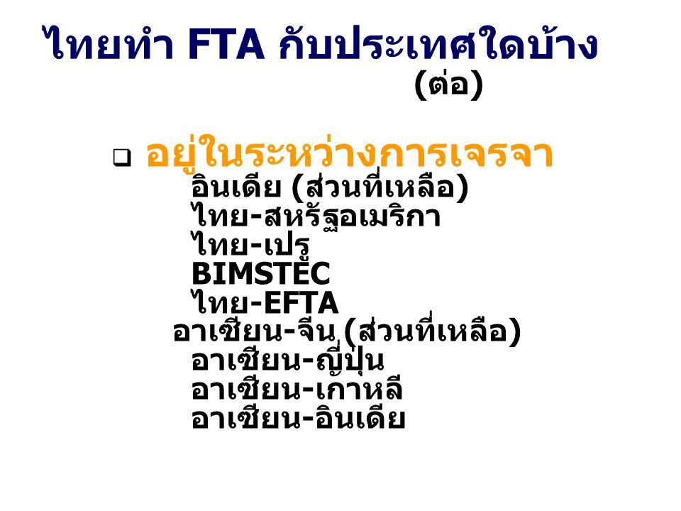 ไทยทำ FTA กับประเทศใดบ้าง (ต่อ)