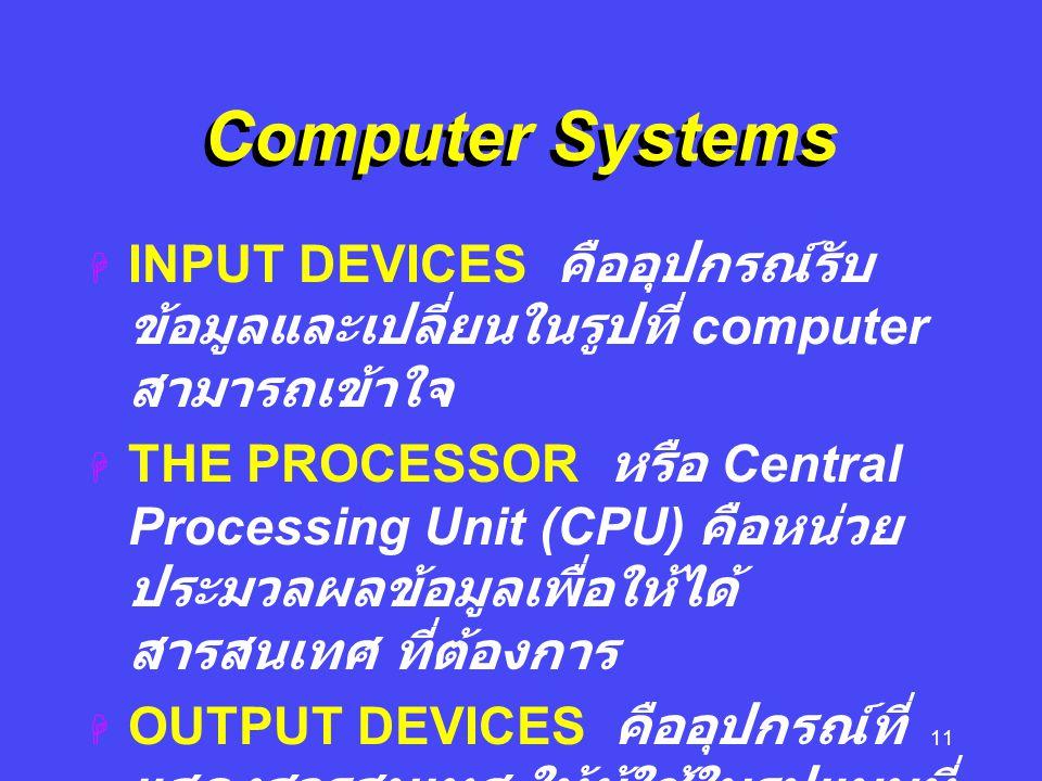 Computer Systems INPUT DEVICES คืออุปกรณ์รับข้อมูลและเปลี่ยนในรูปที่ computer สามารถเข้าใจ.