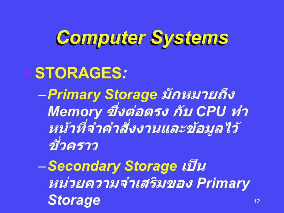Computer Systems STORAGES: