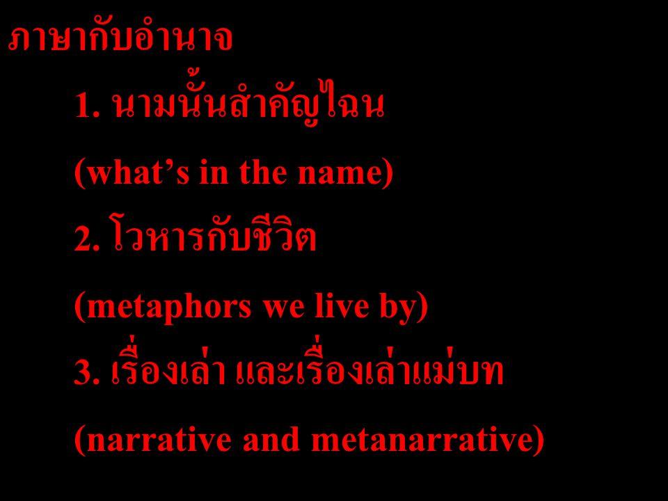 ภาษากับอำนาจ. 1. นามนั้นสำคัญไฉน. (what's in the name). 2