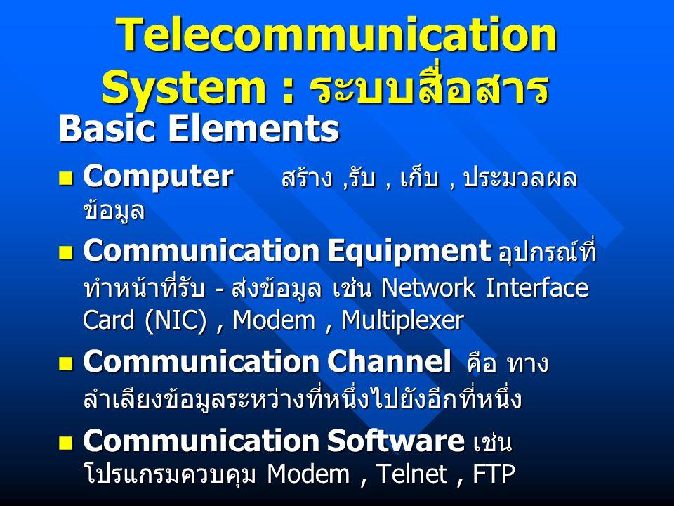 Telecommunication System : ระบบสื่อสาร