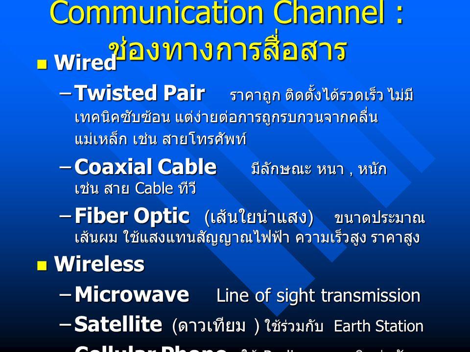 Communication Channel : ช่องทางการสื่อสาร