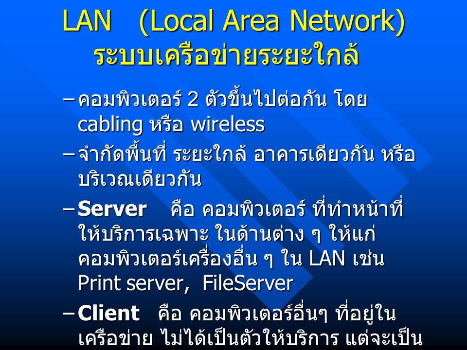 LAN (Local Area Network) ระบบเครือข่ายระยะใกล้