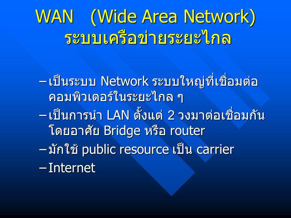 WAN (Wide Area Network) ระบบเครือข่ายระยะไกล