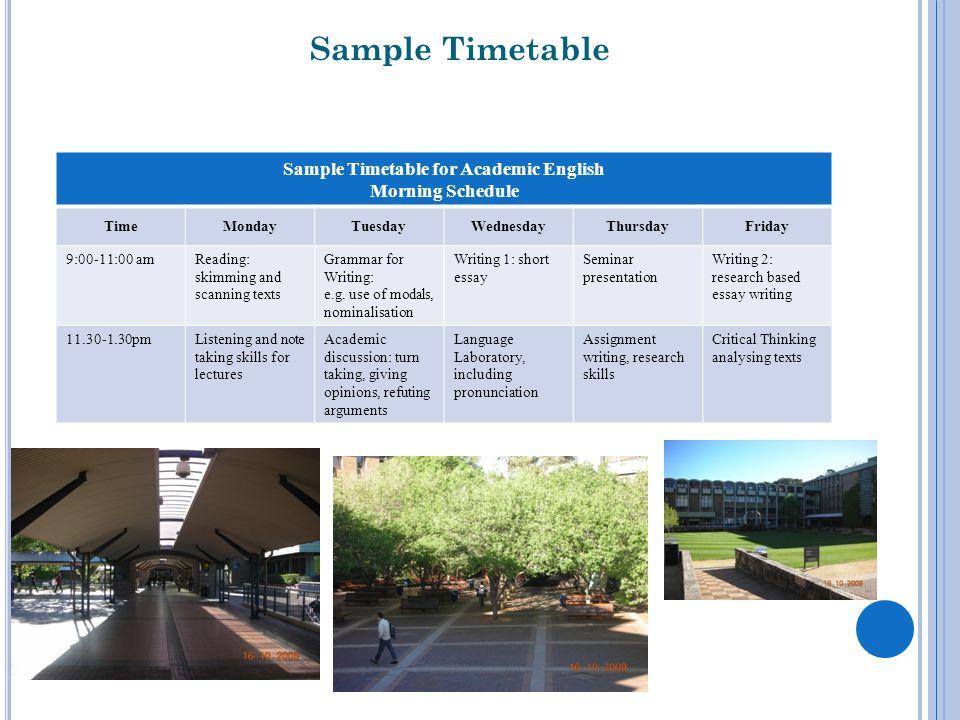 Sample Timetable for Academic English