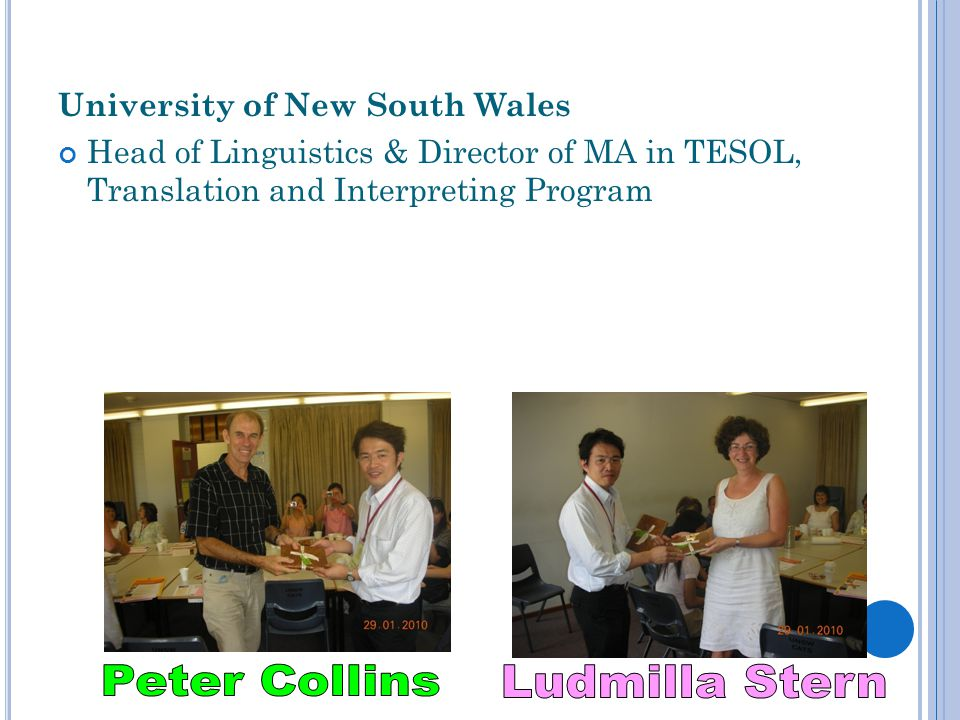 Peter Collins Ludmilla Stern University of New South Wales