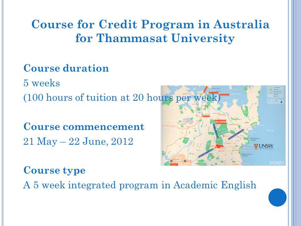 Course for Credit Program in Australia for Thammasat University