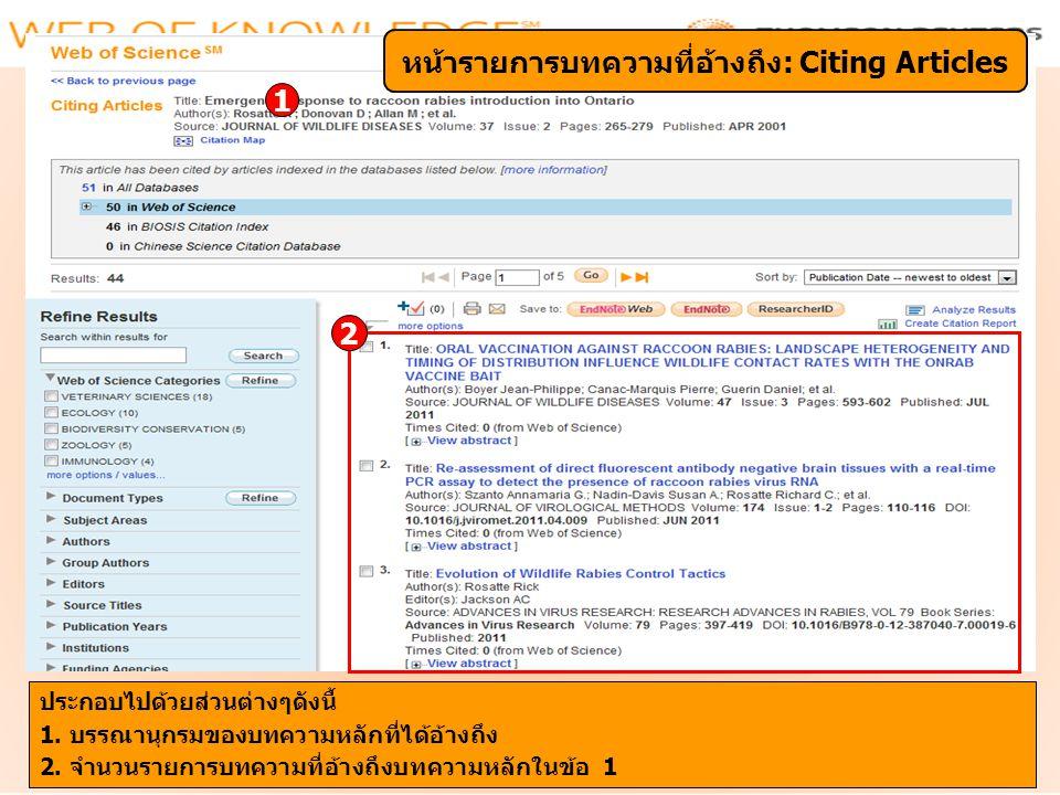 หน้ารายการบทความที่อ้างถึง: Citing Articles
