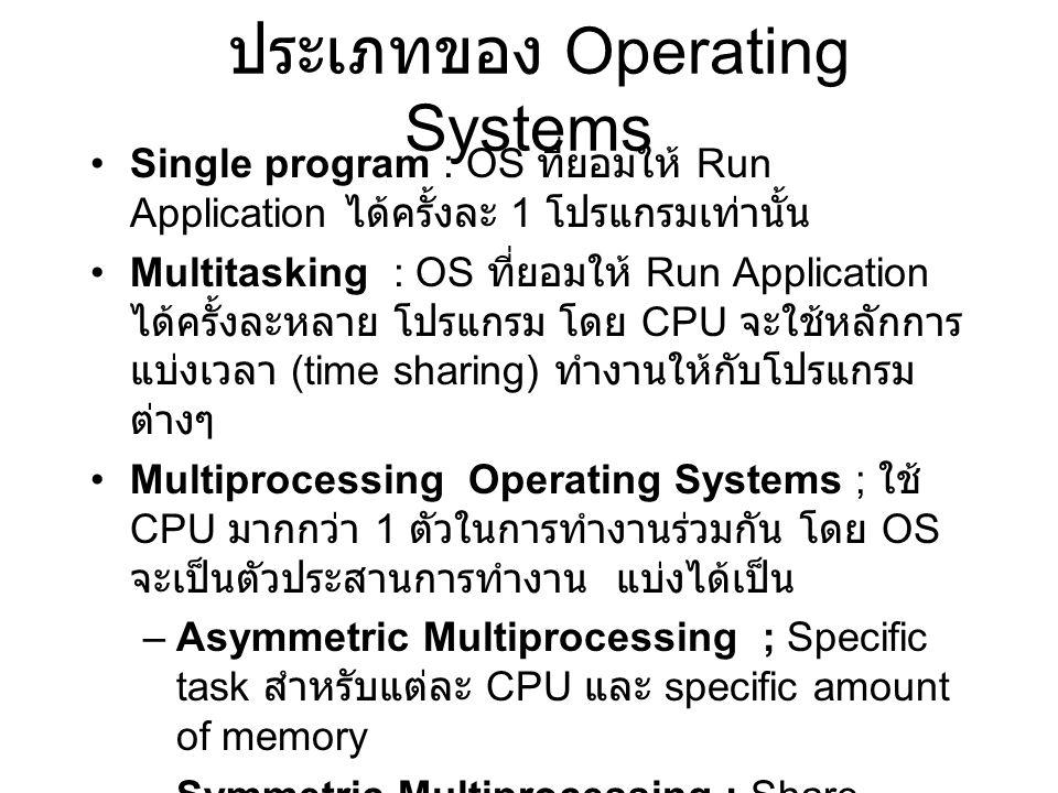 ประเภทของ Operating Systems