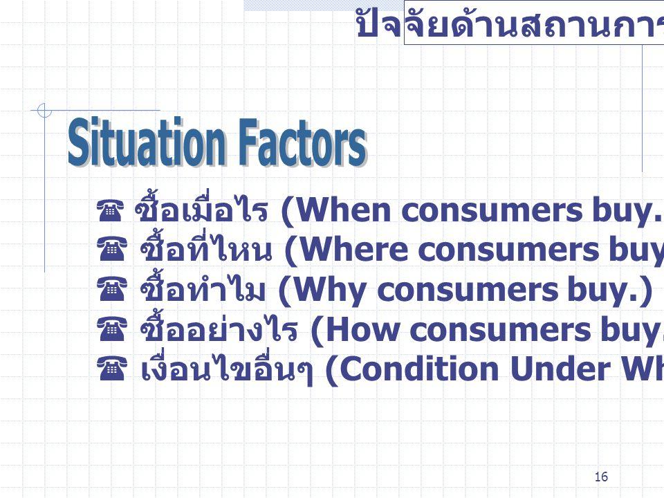 ปัจจัยด้านสถานการณ์ Situation Factors