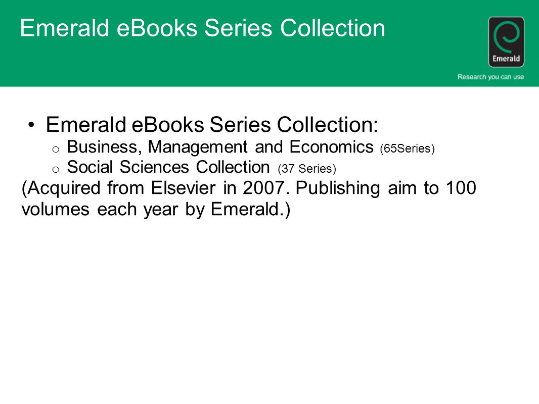 Emerald eBooks Series Collection