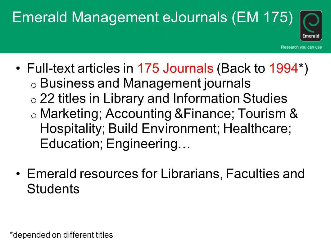 Emerald Management eJournals (EM 175)