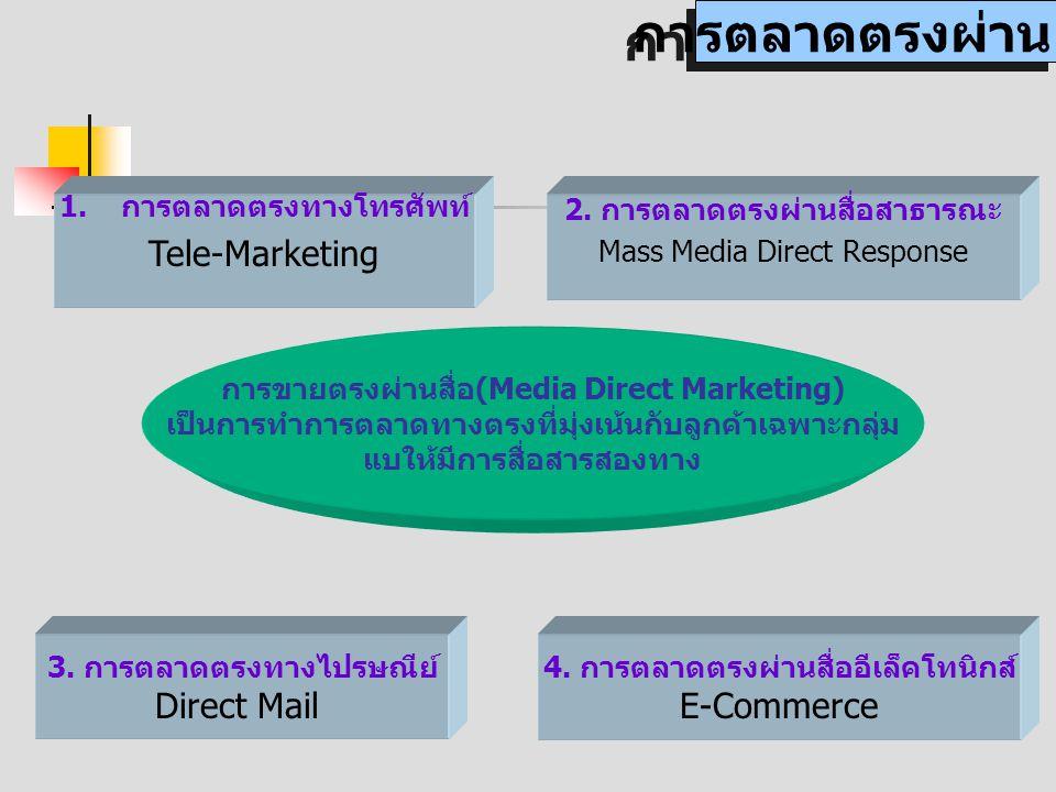 การตลาดตรงผ่านสื่อ Tele-Marketing Direct Mail E-Commerce