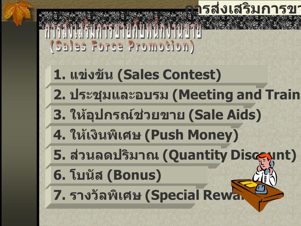 การส่งเสริมการขายกับพนักงานขาย (Sales Force Promotion)