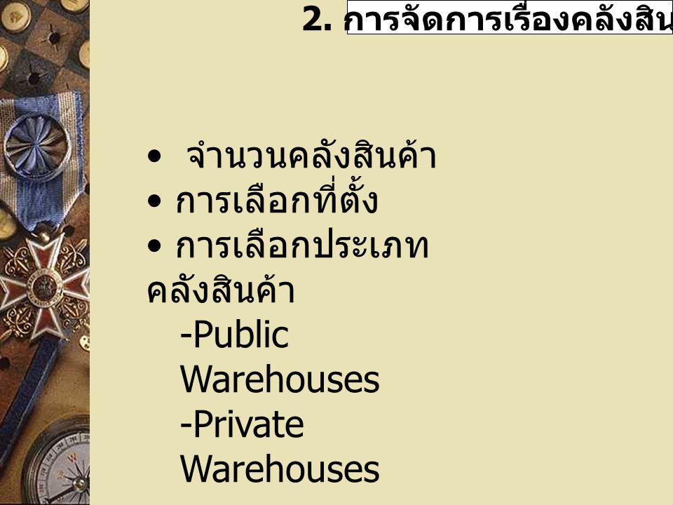 2. การจัดการเรื่องคลังสินค้า