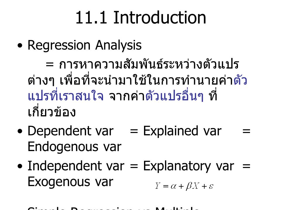 11.1 Introduction Regression Analysis