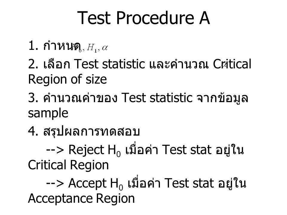 Test Procedure A 1. กำหนด. 2. เลือก Test statistic และคำนวณ Critical Region of size. 3. คำนวณค่าของ Test statistic จากข้อมูล sample.