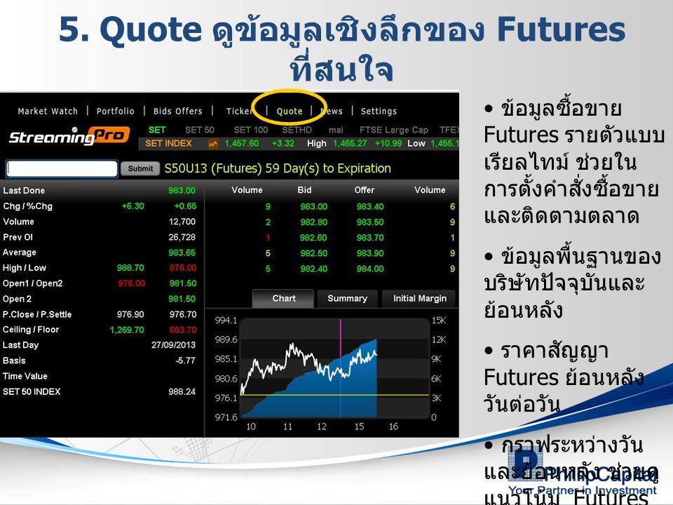5. Quote ดูข้อมูลเชิงลึกของ Futures ที่สนใจ