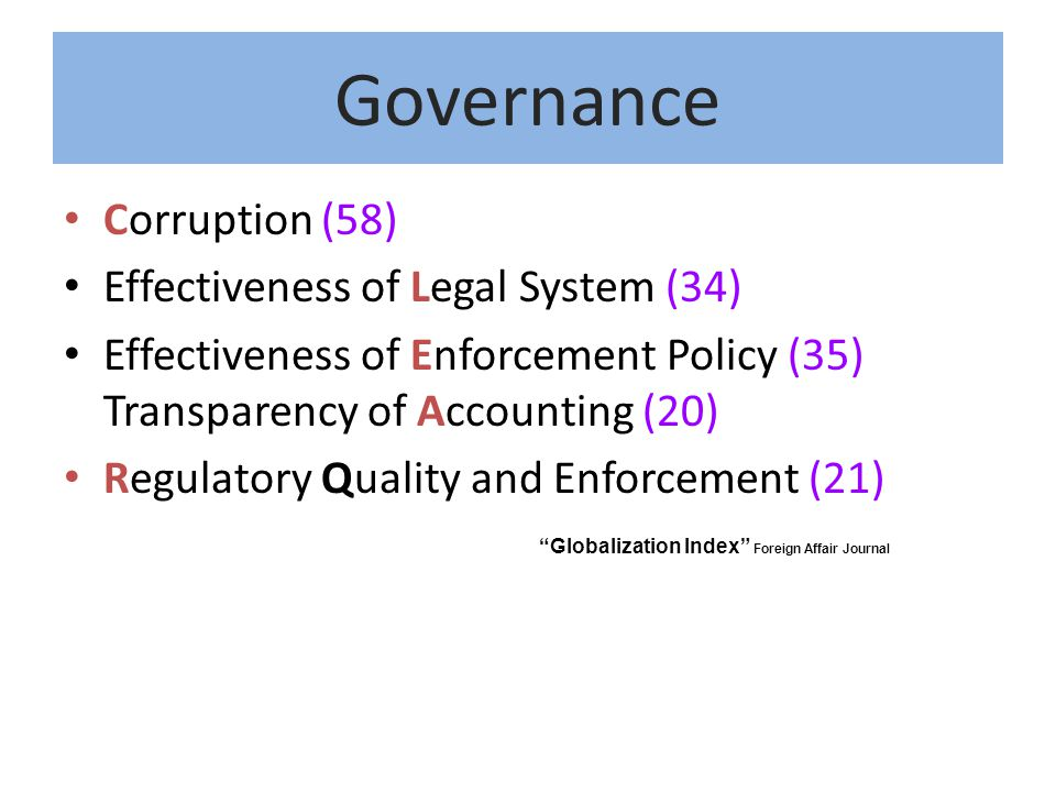 Governance Corruption (58) Effectiveness of Legal System (34)