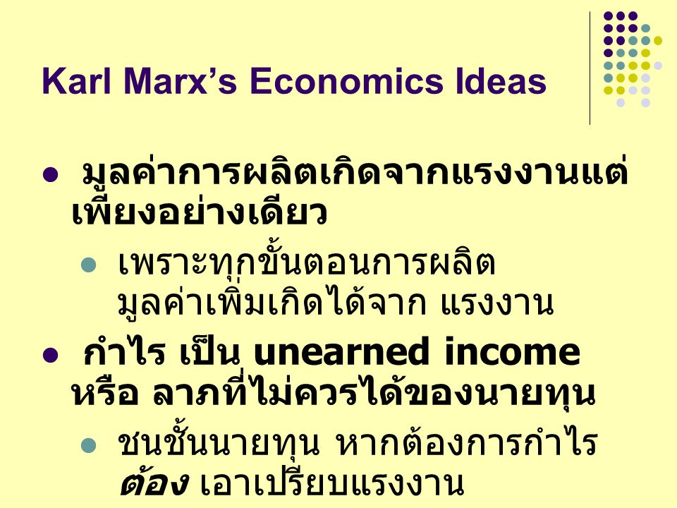 Karl Marx's Economics Ideas