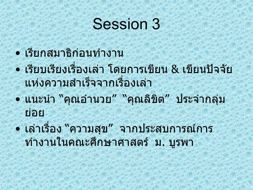 Session 3 เรียกสมาธิก่อนทำงาน