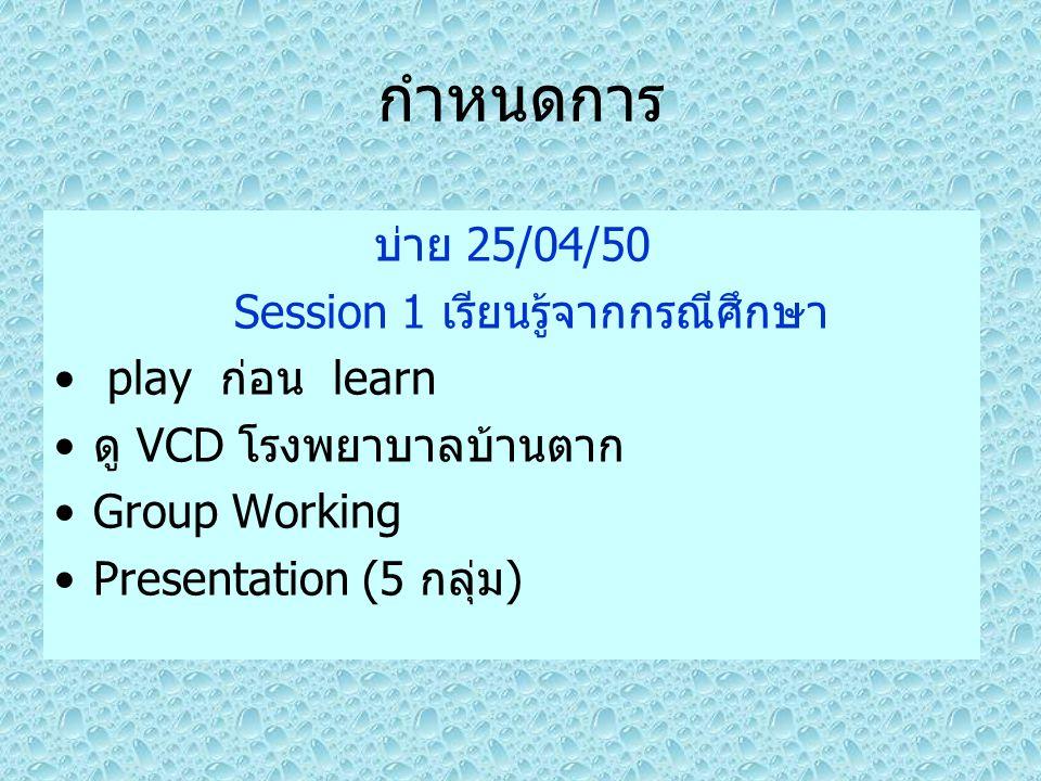 Session 1 เรียนรู้จากกรณีศึกษา