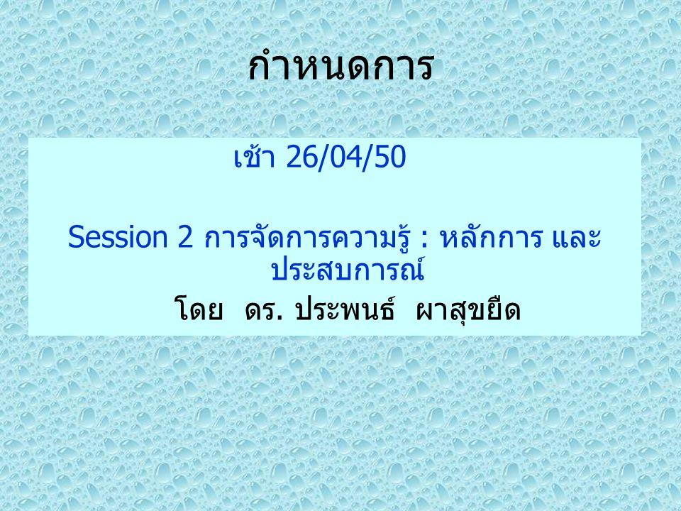 กำหนดการ เช้า 26/04/50. Session 2 การจัดการความรู้ : หลักการ และประสบการณ์ โดย ดร.