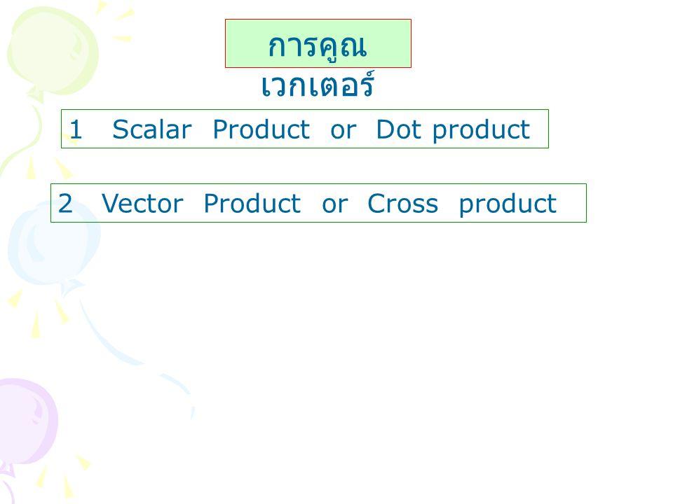 การคูณเวกเตอร์ 1 Scalar Product or Dot product