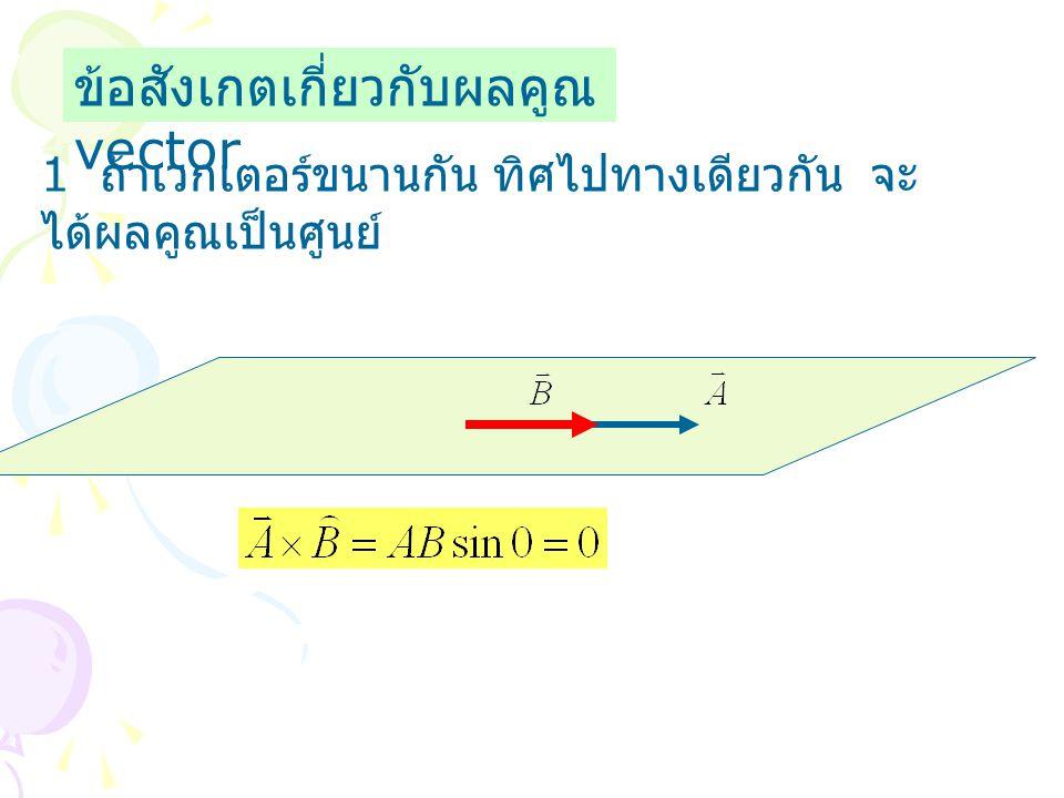 ข้อสังเกตเกี่ยวกับผลคูณ vector