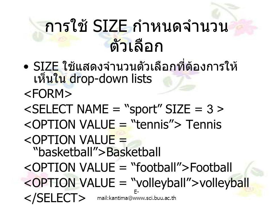 การใช้ SIZE กำหนดจำนวนตัวเลือก