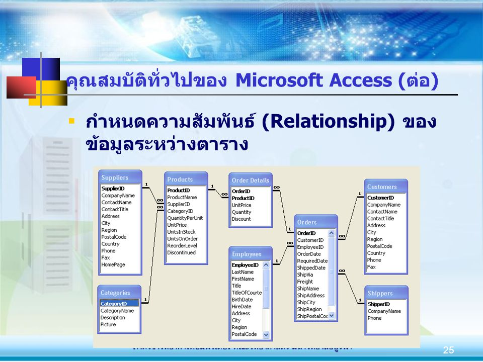 คุณสมบัติทั่วไปของ Microsoft Access (ต่อ)