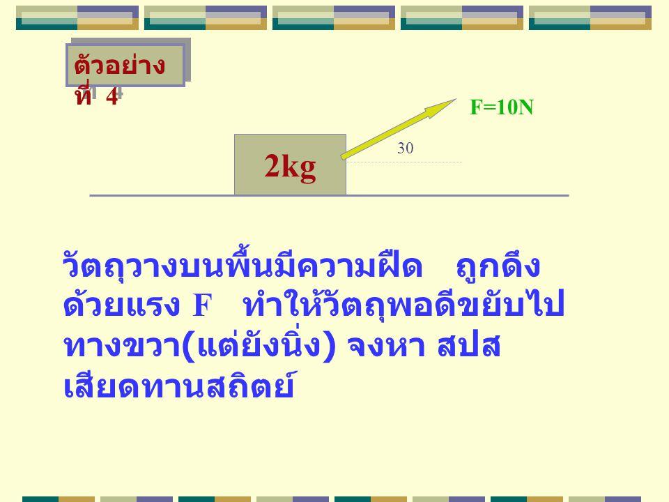 ตัวอย่างที่ 4 F=10N. 2kg. 30.