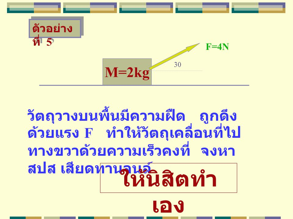 ตัวอย่างที่ 5 F=4N. M=2kg. 30. วัตถุวางบนพื้นมีความฝืด ถูกดึงด้วยแรง F ทำให้วัตถุเคลื่อนที่ไปทางขวาด้วยความเร็วคงที่ จงหา สปส เสียดทานจนล์