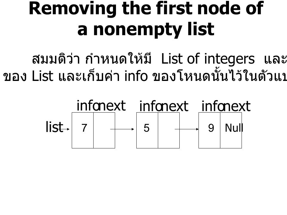 Removing the first node of a nonempty list
