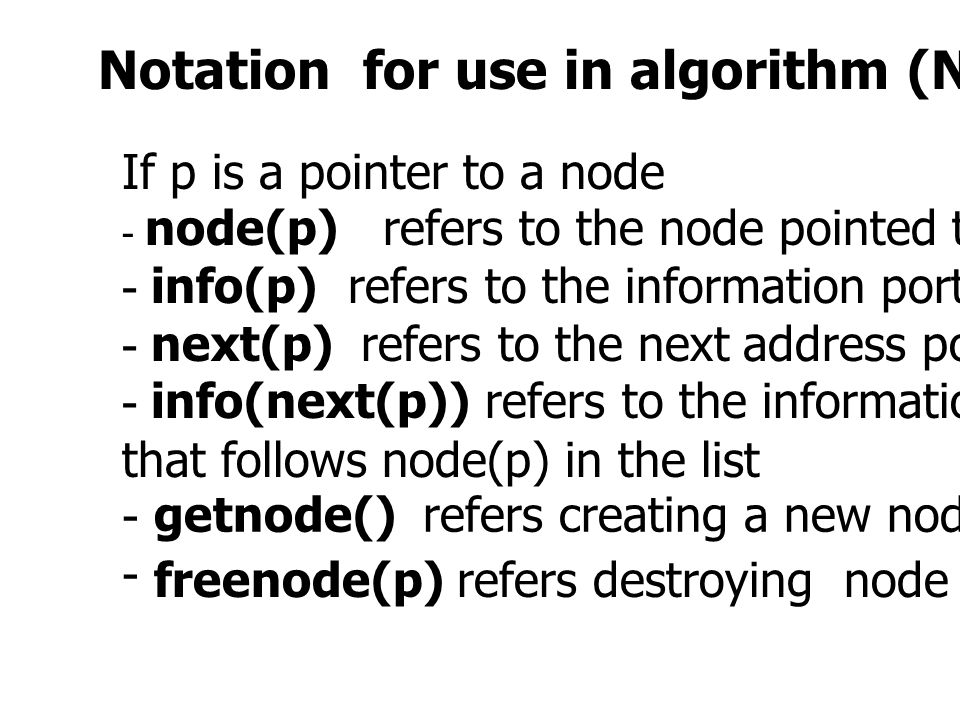 Notation for use in algorithm (Not in C program)
