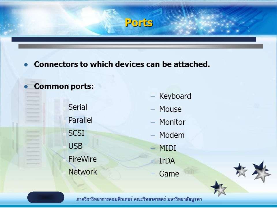 Ports Connectors to which devices can be attached. Common ports:
