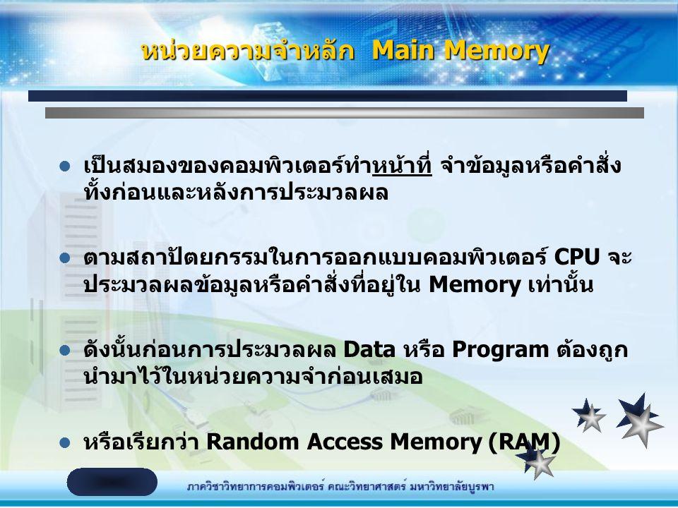 หน่วยความจำหลัก Main Memory