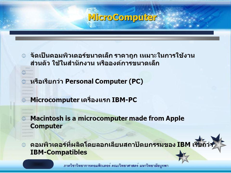 MicroComputer จัดเป็นคอมพิวเตอร์ขนาดเล็ก ราคาถูก เหมาะในการใช้งานส่วนตัว ใช้ในสำนักงาน หรือองค์การขนาดเล็ก.