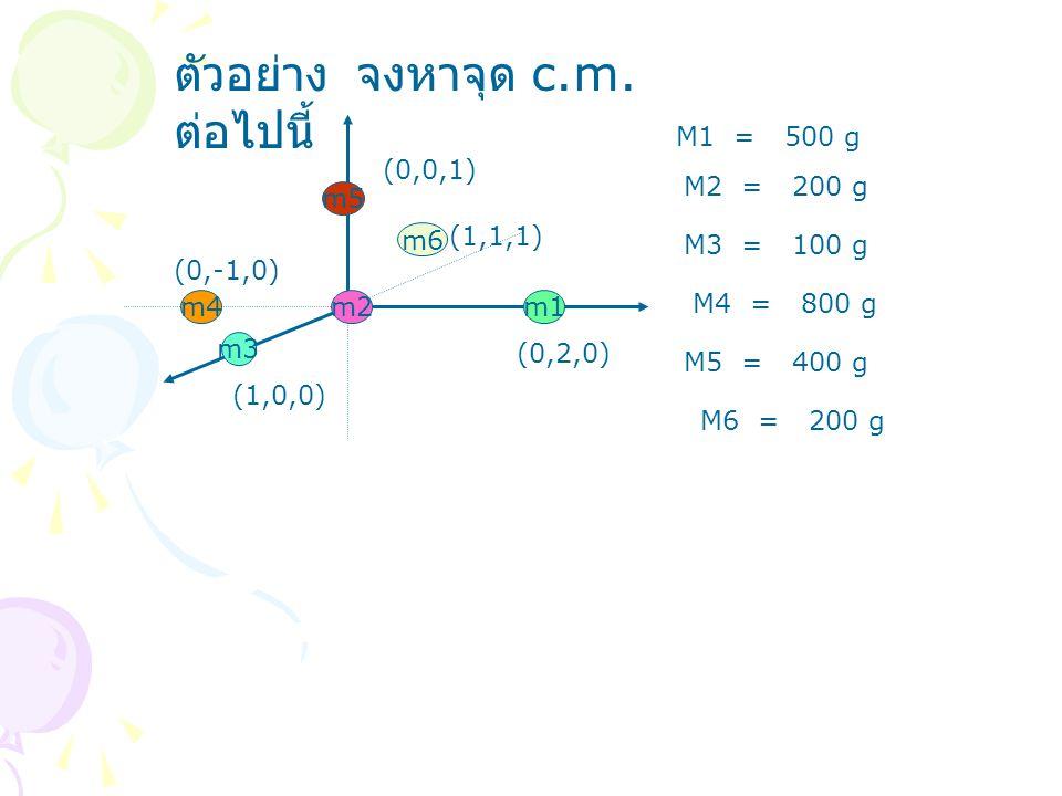ตัวอย่าง จงหาจุด c.m. ต่อไปนี้